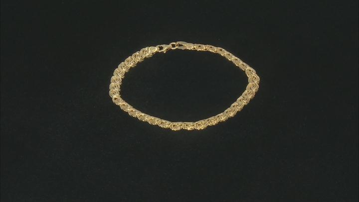 10K Yellow Gold Domed Rosetta 7.25 Inch Bracelet