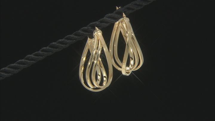 10K Yellow Gold Polished Triple Oval Tube Hoop Earrings