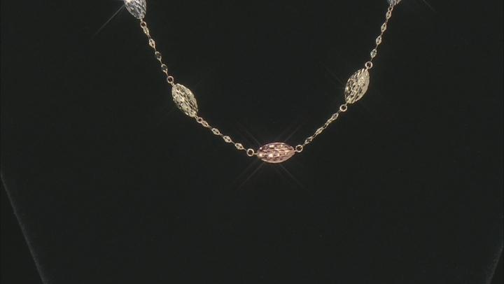 10K Triple Gold Polished and Diamond Cut 5 Puff Rice Beads Tin Cup 18