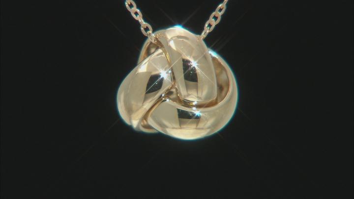 10K Yellow Gold Polished Interlock Twist Knot Pendant with 17