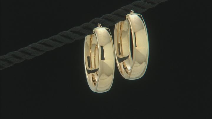 14K Yellow Gold Polished 25MM Tube Hoop Earrings