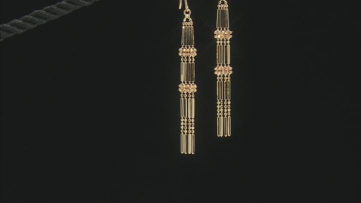 14K Yellow Gold Polished and Diamond Cut Beaded Drop Earrings