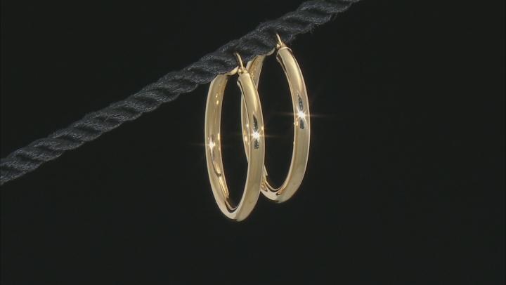 14K Yellow Gold 25MM Polished Hoop Earrings