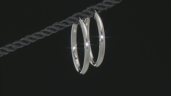 14K White Gold 25MM Polished Hoop Earrings