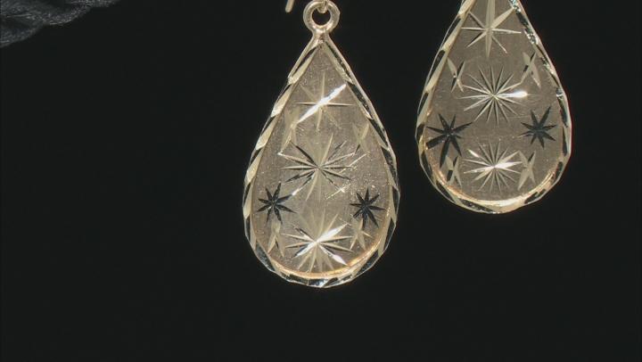 14k Yellow Gold 12.8MM Diamond Cut Teardrop Dangle Earrings