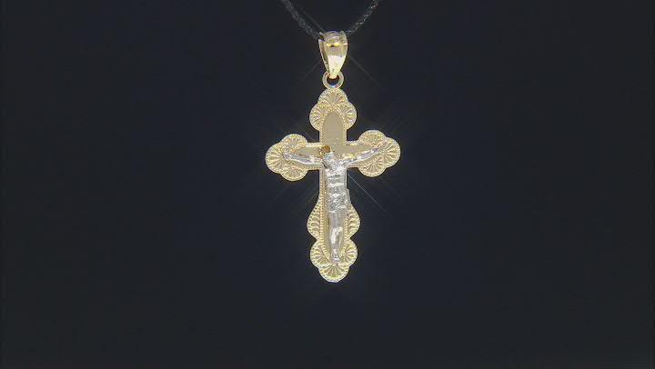 10K Two-Tone Gold Polished Diamond-Cut Crucifix Cross Pendant