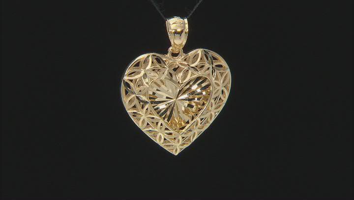 10K Yellow Gold Polished Diamond-Cut Love Script Heart Shadowbox Pendant