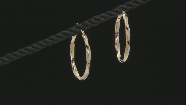 10K Yellow Gold Polished 30MM Twist Tube Hoop Earrings