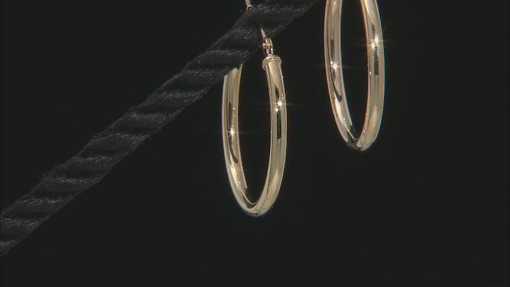 14K Yellow Gold 25MM Polished Tube Hoop Earrings