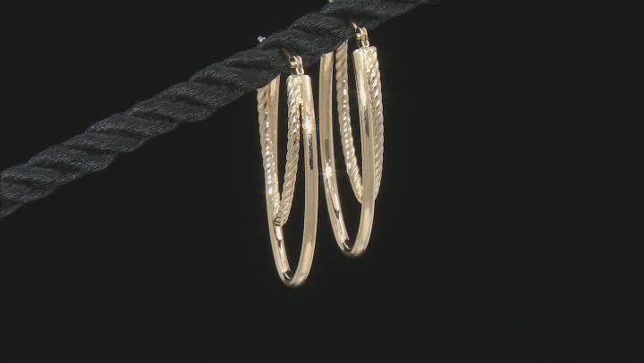 14K Yellow Gold 20MM Polished Double Oval Tube Hoop Earrings