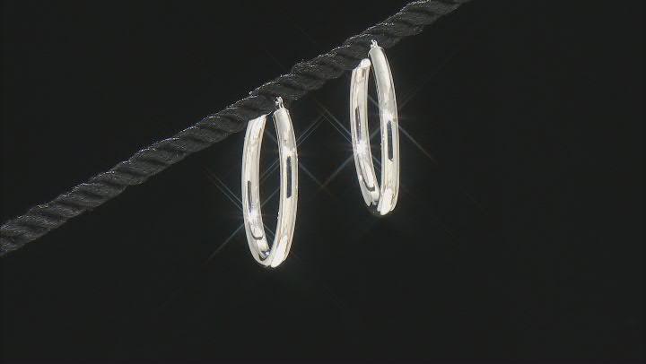 14K White Gold Polished 30MM Oval Tube Hoop Earrings