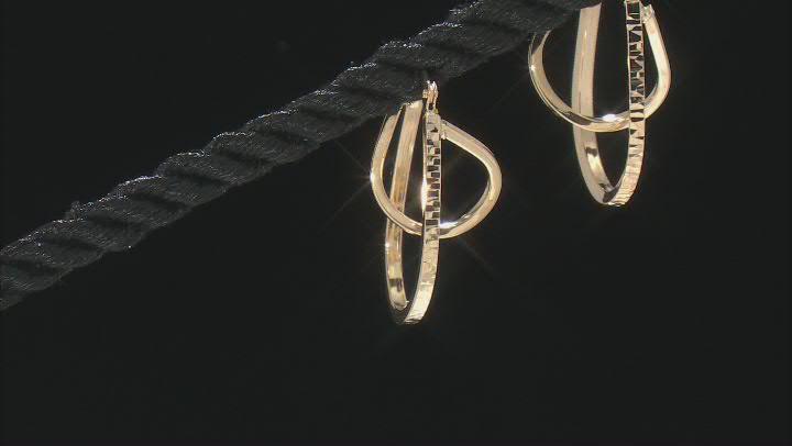 14K Yellow Gold Polished Diamond-Cut Orbital Tube Hoop Earrings