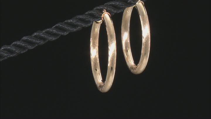 14K Yellow Gold 28MM Polished Diamond-Cut Tube Hoop Earrings