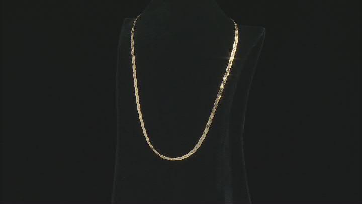 10K Yellow Gold 3.5MM Three-Braided Herringbone Chain 18 Inch Necklace