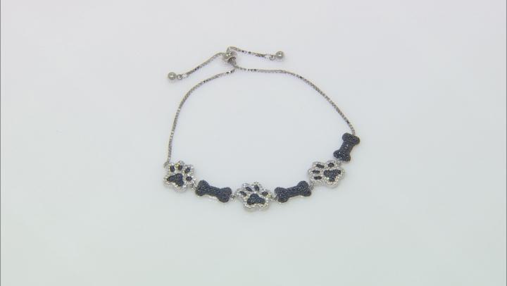 Black spinel rhodium over silver bolo bracelet 2.32ctw