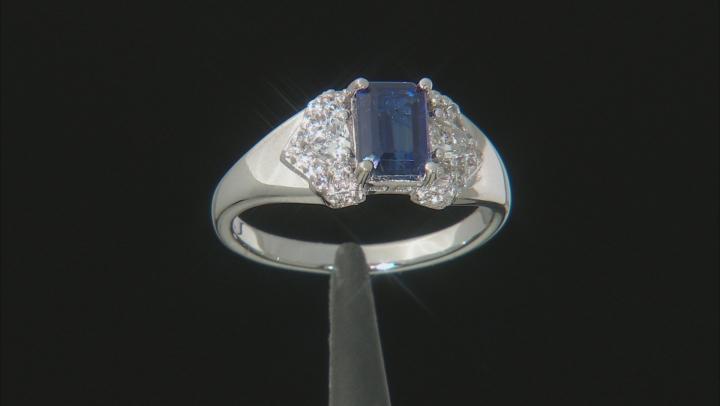 Blue kyanite rhodium over silver ring 1.49ctw