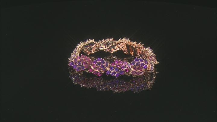 Raspberry color rhodolite 18k gold over silver bracelet 25.54ctw
