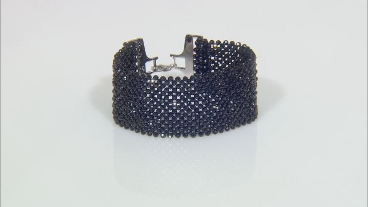 Black Spinel Rhodium Over Sterling Silver Bracelet Approximately 80.00ctw