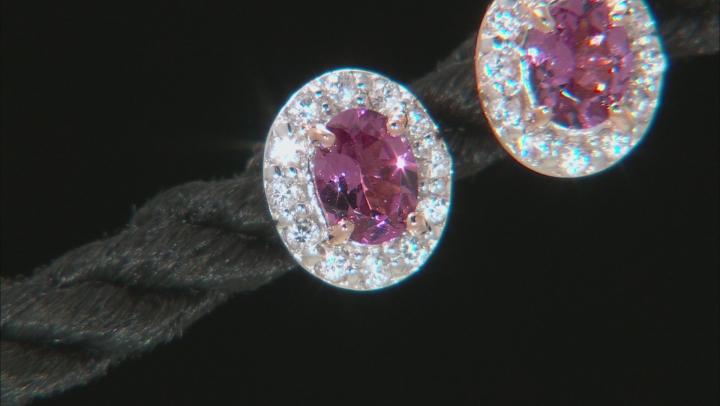 Pink Blush Color Garnet 18k Rose Gold Over Sterling Silver Stud Earrings .87ctw