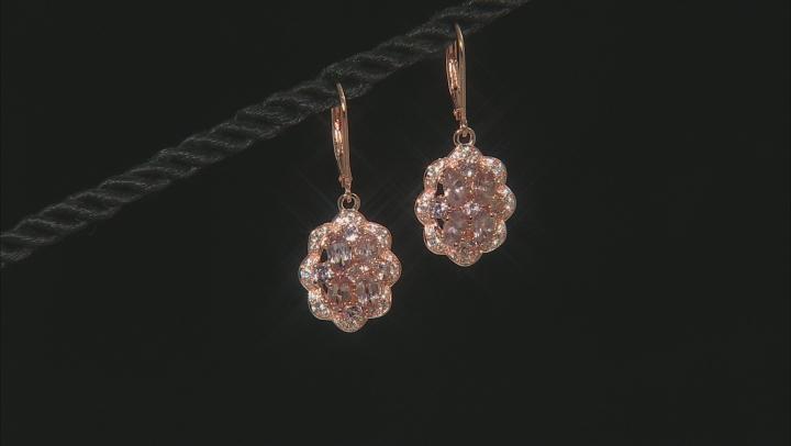 Pink Color Shift Garnet 18k Rose Gold Over Sterling Silver Earrings 3.35ctw