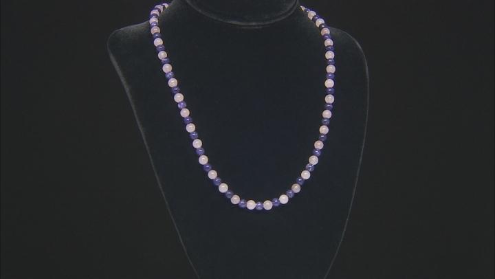 Purple charoite rhodium over sterling silver necklace