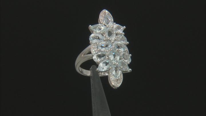 Blue aquamarine rhodium over silver ring 4.38ctw
