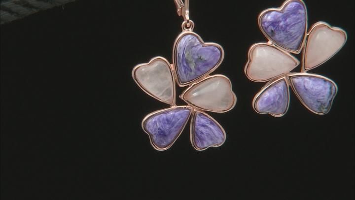 Purple charoite 18k rose gold over silver dangle earrings