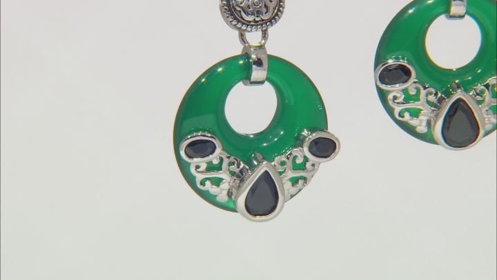 Green onyx rhodium over sterling silver hoop earrings 1.97ctw