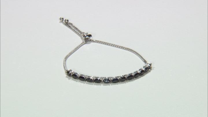 Blue sapphire rhodium over silver bolo bracelet 3.64ctw