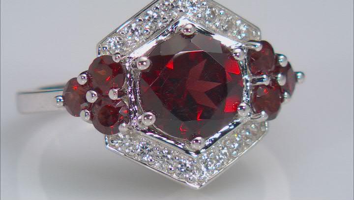 Red Vermelho Garnet™ Rhodium Over Sterling Silver Ring 3.28ctw