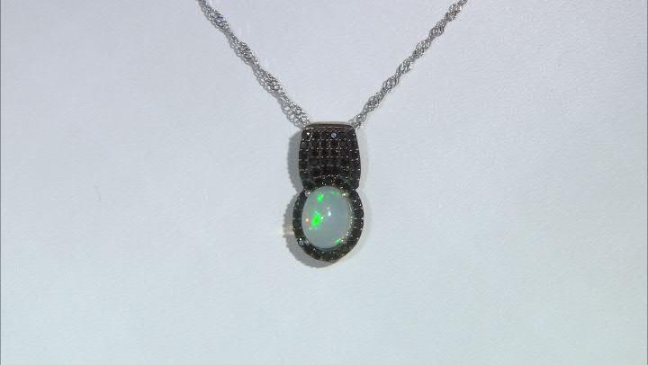 Multicolor Ethiopian Opal Rhodium Over Silver Pendant With Chain 1.89ctw