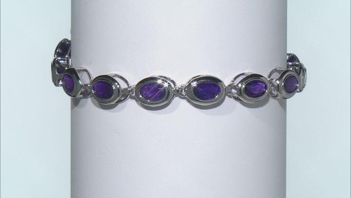 Purple Amethyst Rhodium Over Sterling Silver Tennis Bracelet 13.24ctw