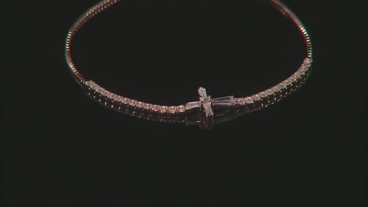 White Cubic Zirconia 18k Rose Gold Over Sterling Silver Adjustable Bracelet 3.32ctw