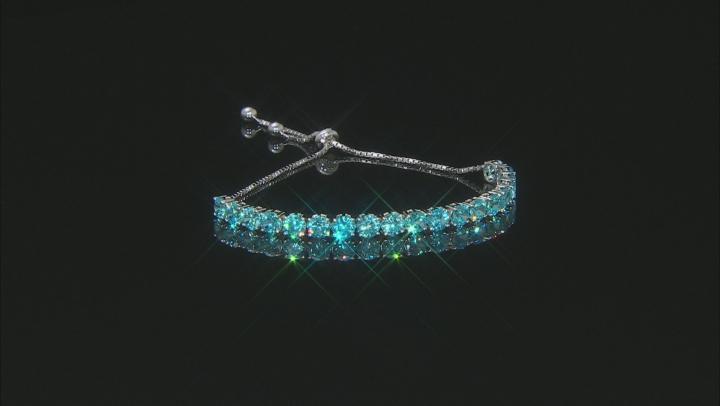 blue cubic zirconia rhodium over sterling silver adjustable bracelet 14.27ctw