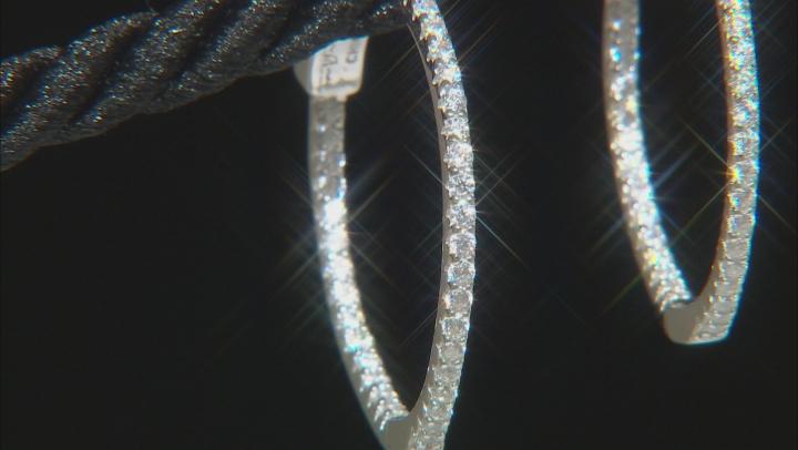 White Cubic Zirconia Rhodium Over Sterling Silver Hoop Earrings 0.94ctw
