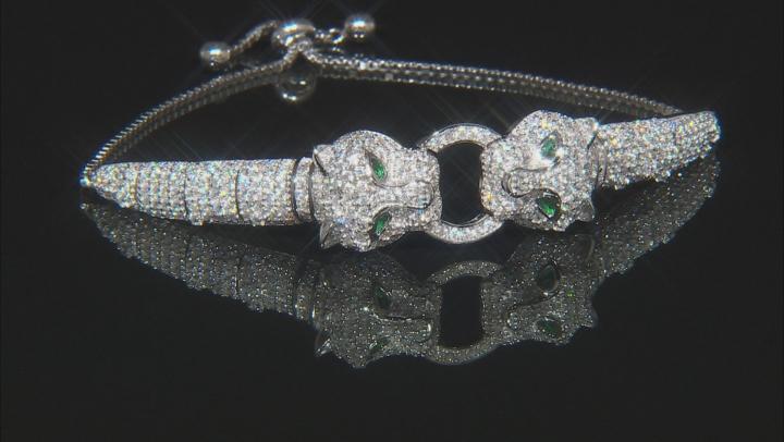 Emerald Simulant & White Cubic Zirconia Rhodium Over Silver Adjustable Panther Bracelet