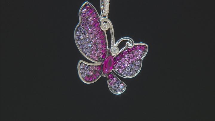 Lab Created Red Corundum, Purple, & White Cubic Zirconia Rhodium Over Silver Butterfly Pendant