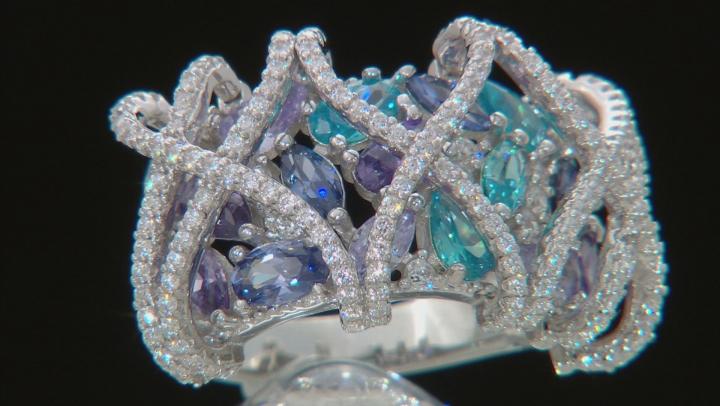 White,Lavender,Purple,Aqua,&Blue Cubic Zirconia Rhodium Over Silver Ring 7.05ctw