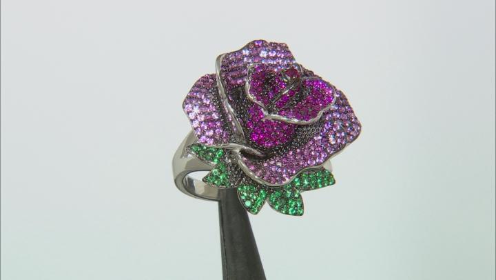 Lab Created Red Corundum & Emerald Simulant Rhodium Over Silver Rose Ring 2.26ctw