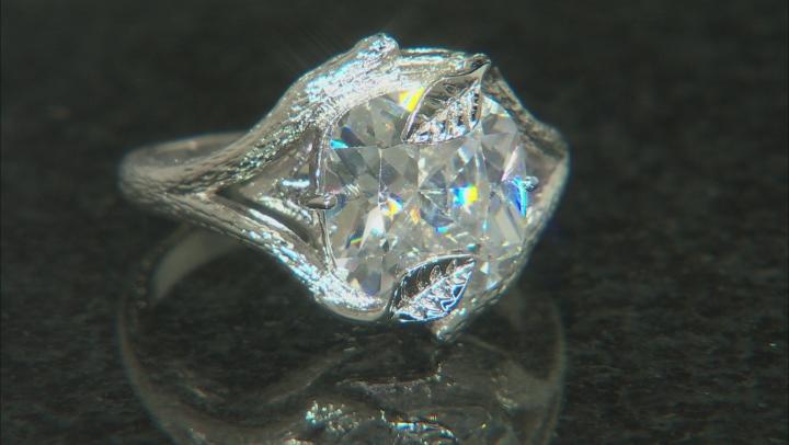 White Cubic Zirconia Rhodium Over Silver Ring 6.08ctw (3.87ctw DEW)