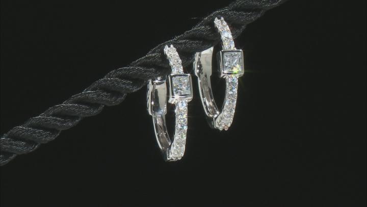 White Cubic Zirconia Rhodium Over Sterling Silver Hoop Earrings 1.42ctw