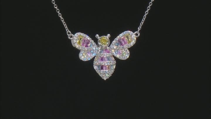 Multi Color Cubic Zirconia Rhodium Over Silver Bee Necklace 2.44ctw