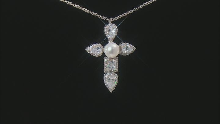 White Cubic Zirconia Rhodium Over Silver Necklace 5.09ctw