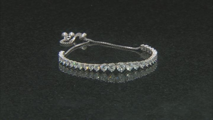 White Cubic Zirconia Rhodium Over Sterling Silver Adjustable Bracelet 7.11ctw