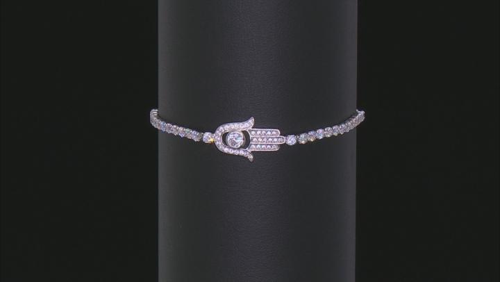 White Cubic Zirconia Rhodium Over Sterling Silver Hasma Hand Adjustable Bracelet 2.32ctw