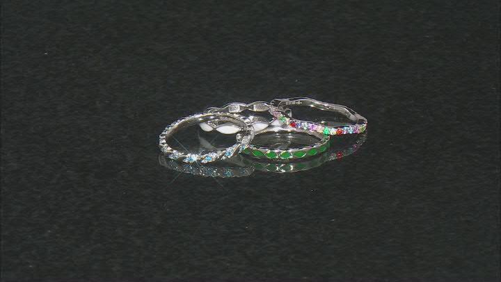 Multicolor Cubic Zirconia & Lab Blue Spinel, Lab Ruby Enamel Rhodium Over Silver Ring Set 1.19ctw