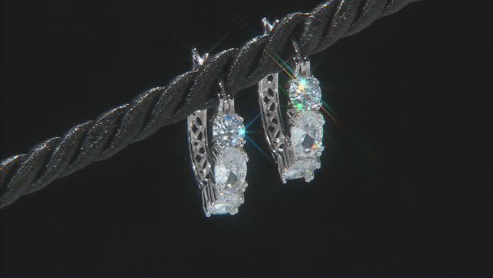 White Cubic Zirconia Rhodium Over Sterling Silver Hoop Earrings 3.11ctw