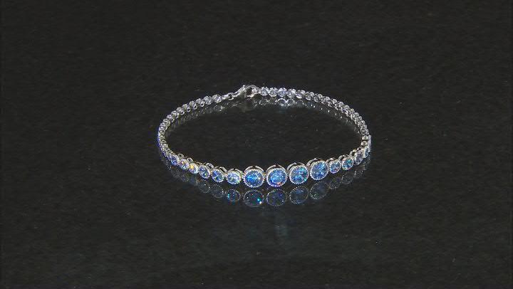 Blue Cubic Zirconia Rhodium Over Sterling Silver Tennis Bracelet 10.11ctw