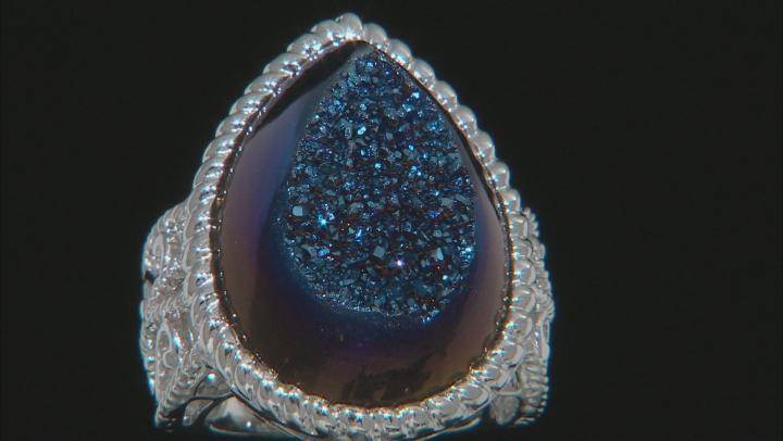 Blue Drusy Quartz Rhodium Over Sterling Silver Ring