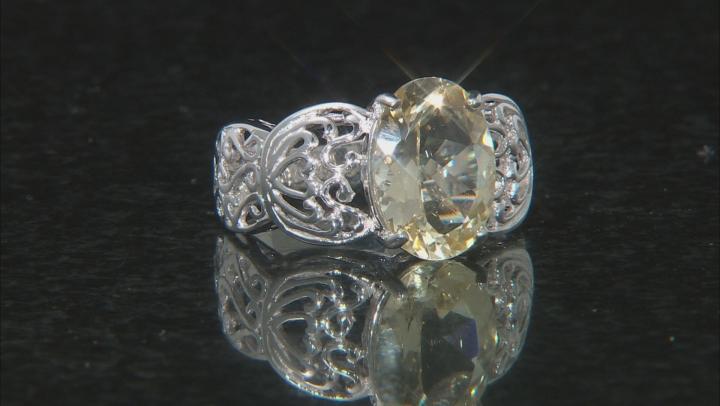 Yellow Labradorite Rhodium Over Sterling Silver Ring 4.20ct